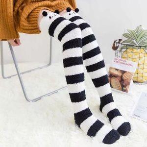 Fuzzy Thigh High Animal Striped Socks Kawaii Baby